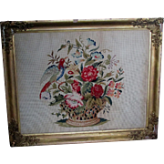 Antique 19thC Folk Art Needlepoint Sampler Bird & Flower Basket, Punched Paper