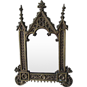Antique c1880s Gilt Bronze Gothic Picture Frame, Mirror