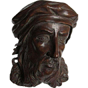Fine European Hand Carved Renaissance Man Plaque, Architectural Element