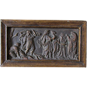 Antique Miniature Bronze Frieze of Ladies at Flaming Urn, , Grand Tour Plaque
