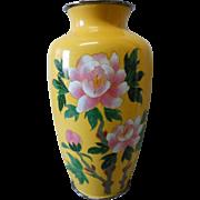 Lovely Cloisonne Vase with Pink Flowers,  Circa 1945,  Signed Akagi Shoten