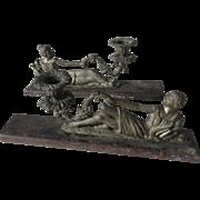 Pair c1890s Figural Man & Woman Candlesticks, Mantle Decoration