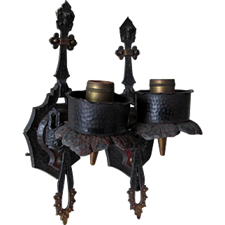 Pair Arts & Crafts Light Sconces,  Hammered, Spanish Mission Design