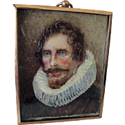 Antique Hand Painted Miniature of Identified Dutch Gentleman with Ruffled Lace Collar
