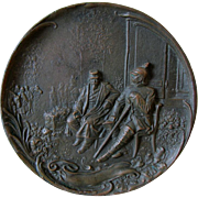 Bronze Plaque of Napoleon III & Chancellor Otto Von Bismarck at Sedan c1870