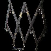 Nice Primitive Antique Iron Folding Coat Hooks, Architectural Hanging Rack