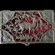 Antique Bronze Mens Jewelry, Vanity or Desk Box with Deer, Fox, Dogs, etc