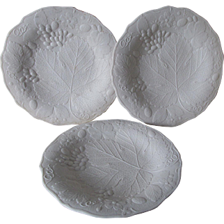 3 Antique c1870s Parian Porcelain Plates with Grape Vine Motif