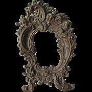 Antique 19thC French Rococo Bronze Mirror, Picture Frame, Cherub Angel & Dolphin