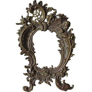 Antique 19thC French Rococo Bronze Mirror, Picture Frame, Cherub Angel & Dolphin