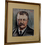 Original Watercolor Painting of President Theodore Roosevelt, Political, Signed