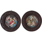 Pair Hand Carved Italian Picture Frames from Florence, Old Master Prints
