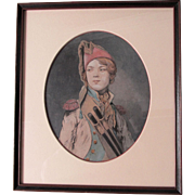 Antique Painting of a Drummer Boy in Military Uniform, Historical Portrait