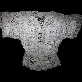 Fine Antique c1870s European  Lace Blouse, Hand Made Wedding Dress, Blouse