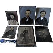 Group of 6 Large Plate Tintype Portraits, Hand Painted, Full Plate Tintypes