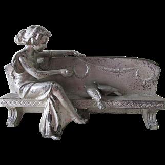 Lovely Antique Art Nouveau Jardiniere, Planter, Lady Feeding Birds
