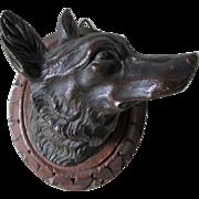 Antique Bronze Fox Head Plaque, Sculpture, Figurine