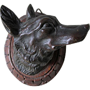 Antique Bronze Fox Head Plaque, Sculpture, Figurine
