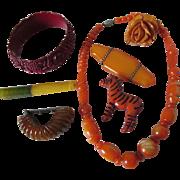 7 Art Deco Jewelry, Vanity Items, Necklace, Bracelet, Zebra, etc.