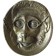 Antique Bronze Tray with Monkey Wearing Eyeglasses