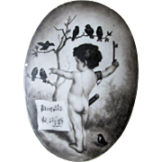 Charming Hand Painted Porcelain Plaque of a Cherub & Singing Birds
