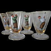 Set of Four Art Deco  Enamel Glasses with Golf Motif