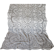 """Fine European Hand Made Lace Tablecloth with Flower Baskets 67"""" x 98"""""""