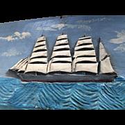 Antique Folk Art Hand Carved Plaque, Masted Sailing Ship Herzogin Cecile