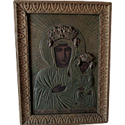 Antique Hand Painted Russian Icon, Madonna & Child with Angels