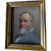 Antique Miniature Watercolor Painting of a Bearded Gentleman, Identified