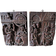 Pair Antique European Hand Carved Panels with Mary, Joseph, King & Angel