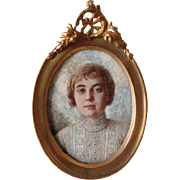 Beautiful Antique Miniature Painting, Portrait of a Lady in Lace