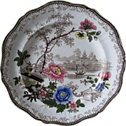 Rare c1840s 4 Color Romantic Staffordshire Transferware Plate