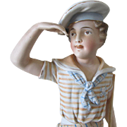 Antique c1890s Victorian Bisque Figurine of a Sailor Boy, European