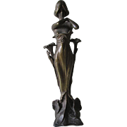 Antique Art Nouveau Bronze Sculpture Nude Lady with Lily Flowers