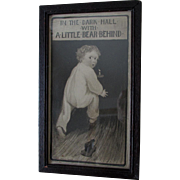 Charming c1905 Bare Bottoms, Baby & Teddy Bear Pull Toy Print in Oak Frame