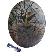 Antique c1880 Folk Art Oil Painting of a Bird with a Nest and Bee
