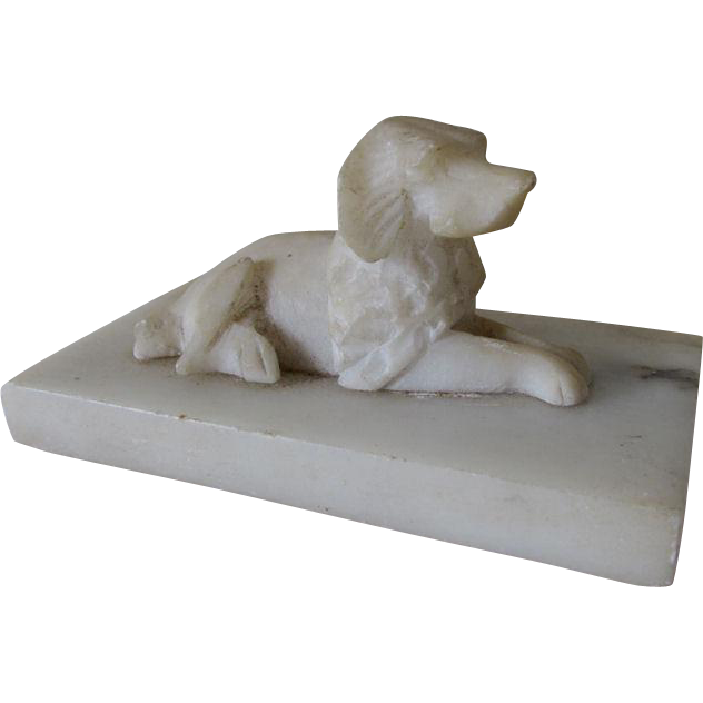 Antique Carved Marble Alabaster Dog Paperweight, Desk Accessory