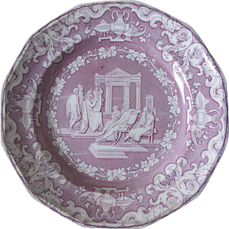 c1849 English Transferware Staffordshire Plate, Ulysses Weeping, Classical Figure Series