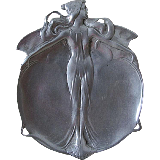 Lovely Antique Art Nouveau Butterfly, Fairy Tray