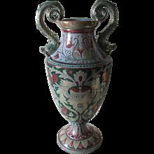 Vintage Italian Majolica, Faience Art Pottery Vase, Hand Painted Lusterware