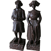 Vintage Hand Carved Folk Art Wood Sculptures, Figurines of a Dutch Couple