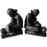 c1925 Native American Indian Pottery Makers Bookends, Cast Iron by Littco