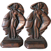 Antique Art Deco Miss Modern Cast Iron Bookends