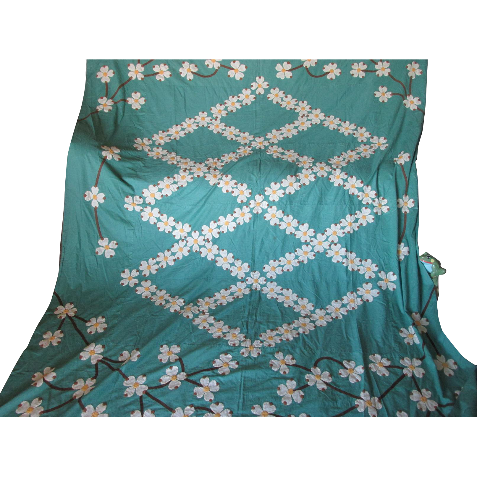 pretty c1930s art deco applique quilt top with daisy. Black Bedroom Furniture Sets. Home Design Ideas