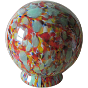c1920s Art Deco End of Day Glass Lamp Shade, Art Glass Czech Globe