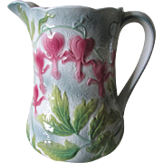 Antique French Saint Clemente Pitcher with Bleeding Heart Flowers
