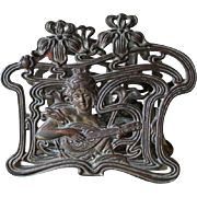 Antique Art Nouveau Letter Holder with Lovely Lady & Mandolin