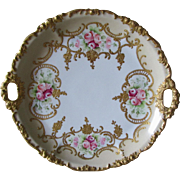 Antique c1907 French Limoges Hand Painted Cake Plate with Gilding & Roses