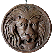 Antique Carved Oak Lion Plaque, Architectural Element